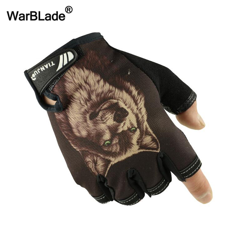 Men's Semi-finger Gloves Wolf Pattern Tactical Gloves Slip-resistant Antiskid Cycling Bike Gym Fitness Sports Half Finger Gloves