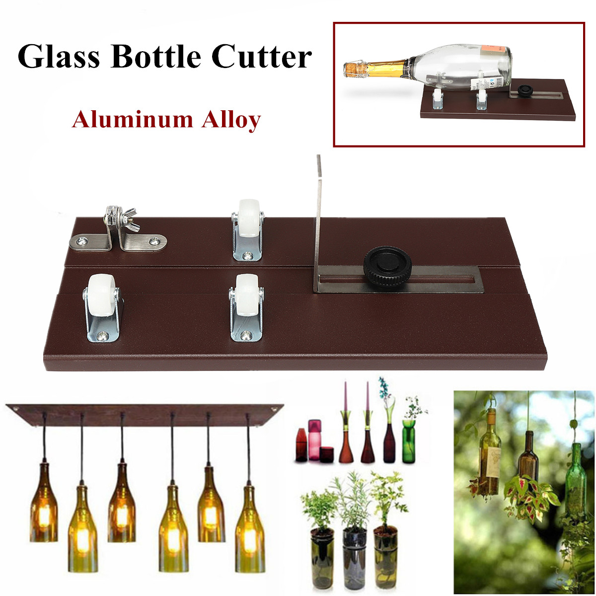 Glass Bottle Cutter Cutting Thickness 3-10mm Aluminum Alloy Cutting Better Accurate Cutting Control DIY Recycle Cutting Tool Kit