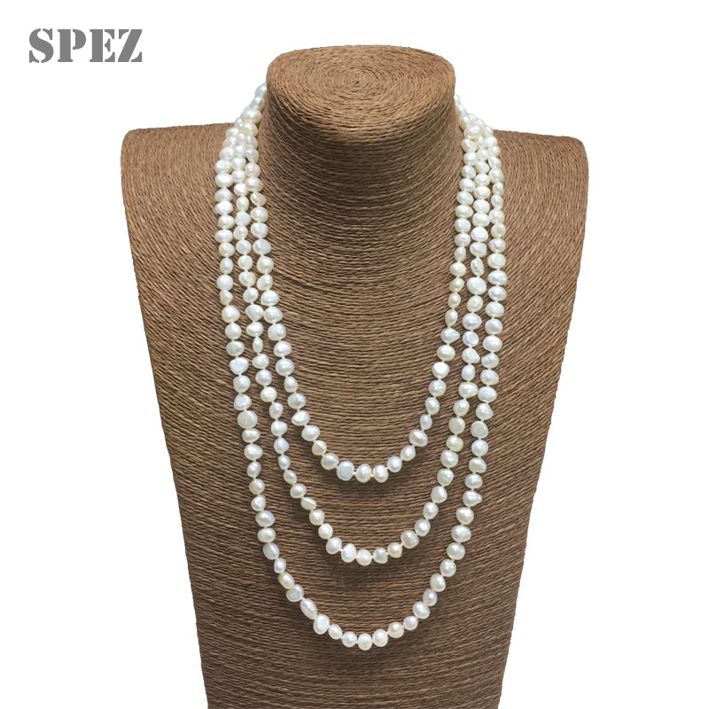 2019 New Fashion Long Pearl Necklace Genuine Baroque Natural Freshwater Pearl Sweater Necklace For Women Jewelry Gift SPEZ