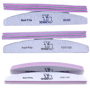 Image 3 - 50pcs/lot Grey Nail Files Sanding For Nail Art Tips 80/100/180 Grit Washable Buffing Brand Sandpaper Block Manicura Pedicure New