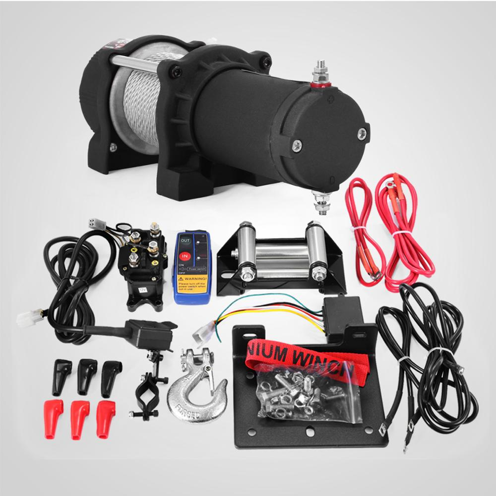 Electric Winch Hoist Cable 12V Cable Winch 1360kg / 13500lbs Electric Winch With Remote Control (1360kg) With Free Shipping