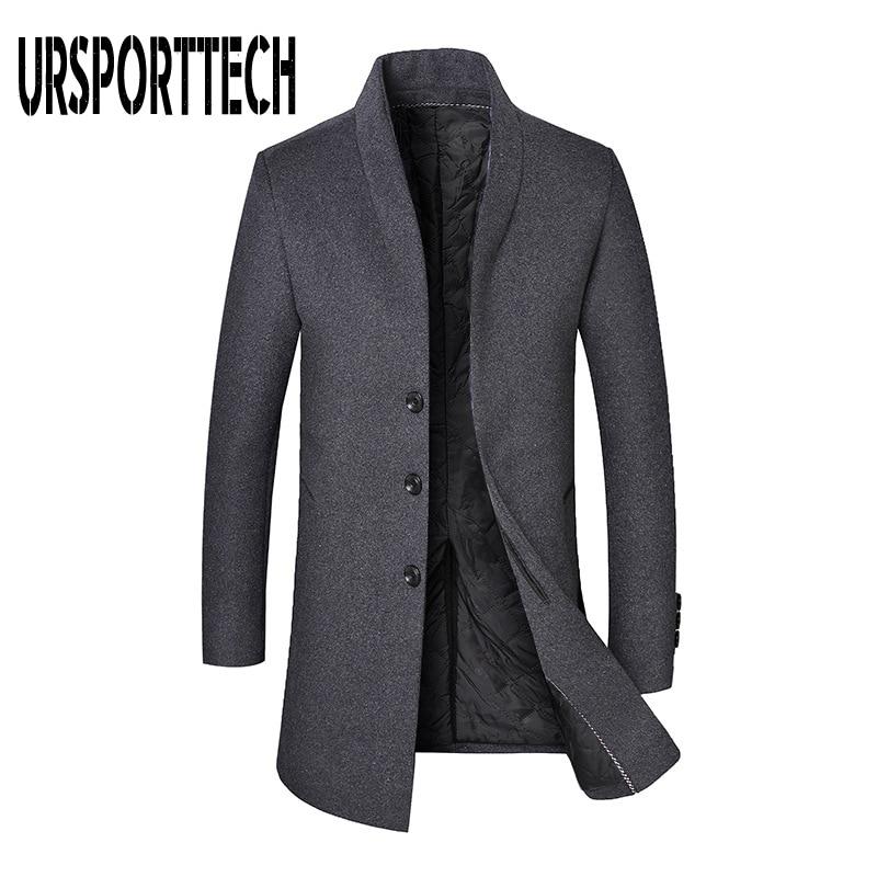 URSPORTTECH Winter Wool Coat Men High-quality Casual Slim Collar Wool Jacket Oversized Men's Long Cotton Collar Trench Coat