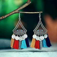 Vintage Geometric Tassel Carved Coin Dangle Women Statement Hook Earrings Gift Womens Decor Jewelry Fash