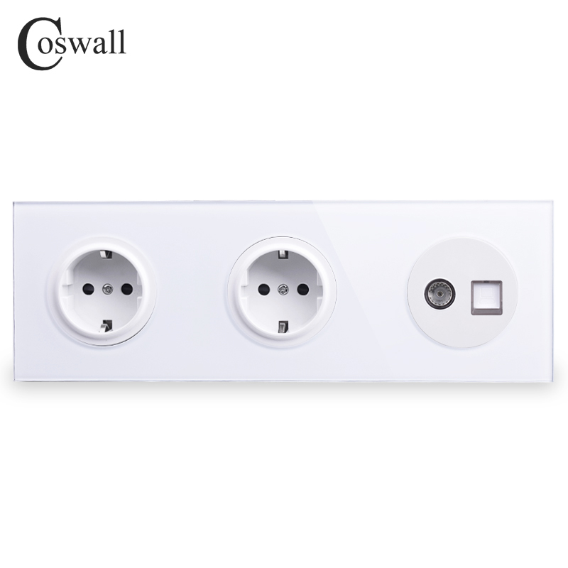 Coswall Tempered Glass Panel 16A Double EU Standard Wall Socket    Female TV Connector With CAT5E RJ45 Computer Jack R11 Series