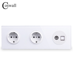 Coswall Tempered Glass Panel 16A Double EU Standard Wall Socket  + Female TV Connector With CAT5E RJ45 Computer Jack R11 Series