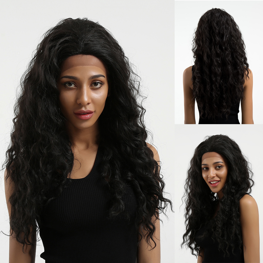 LOUIS FERRE Deep Wave Long Ombre Brown Wigs for Women Afro Natural Synthetic Black Kinky Curly Wigs Cosplay Hair Lace Part Wig