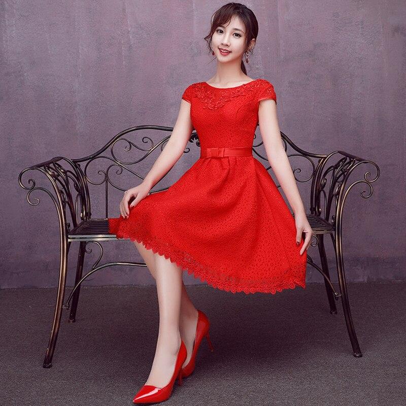 Wedding Party Dresses For Women  Wedding Guest Dress A-Line Lace Appliques Sashes Knee-Length Bridesmaid Dresses Short Creme