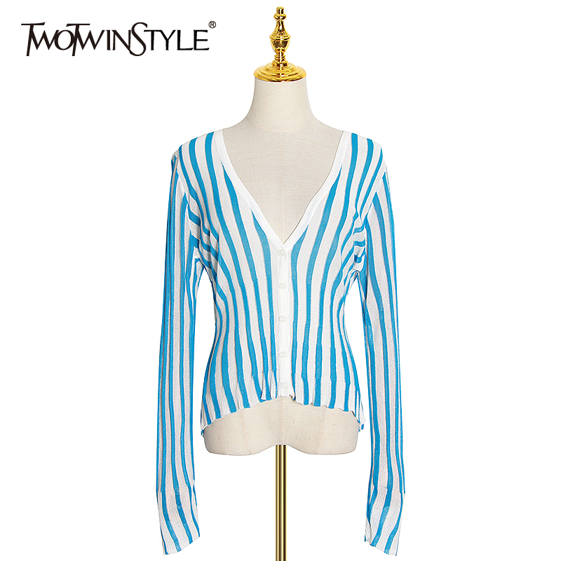 TWOTWINSTYLE Vintage Striped Wemon Sweaters V Neck Long Sleeve Tunic Hit Color Sweater For Female Fashion Clothing Summer Tide