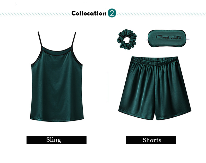 H65786799fbb64eeab35acd00e2c90aceo JULY'S SONG 7 Piece Women Pajamas Set Stain Soft Pyjama Spring Summer Female Nightwear Solid Faux Silk Shorts Homewear 2020