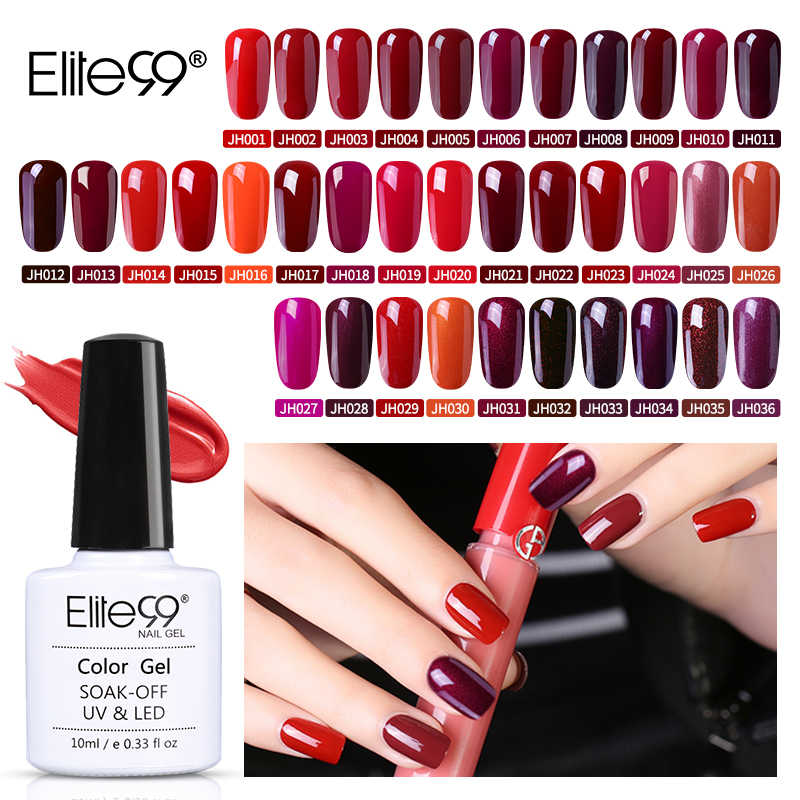 Elite99 esmalte de uñas de Gel rojo vino 10ml precioso color uñas Gel pulido Vernis Gel LED UV barniz Soak Off Gel para decoración de uñas capa superior