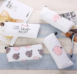 Image 2 - Cute Kawaii Fruit Cake Macaroon Cookie Koran Japanese Pencil Pouch Case Bag School Makeup Supplies Stationery