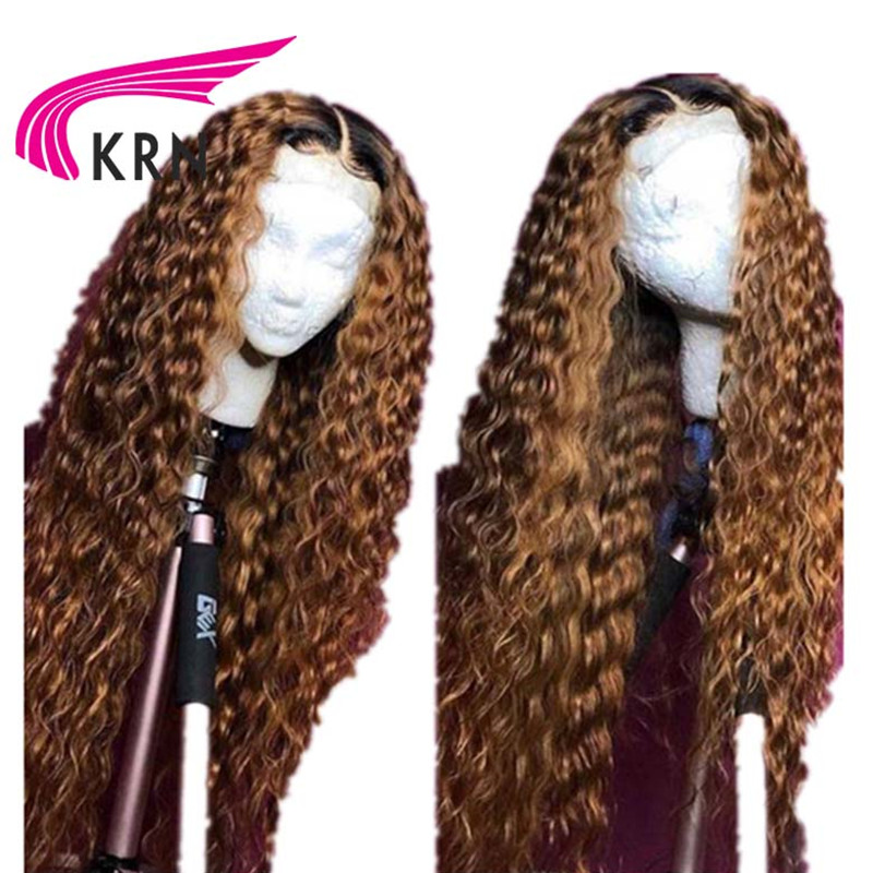KRN 13x6 Lace Front Wig 1b/27 Remy Brazilian Hair PrePlucked Lace Front Human Hair Wigs With Baby Hair