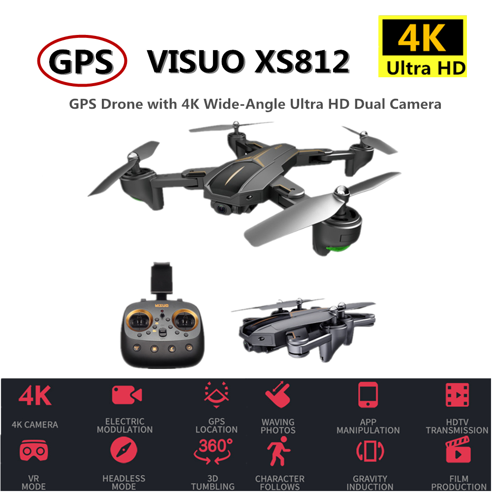 VISUO XS812 RC GPS Drone With 4K HD Camera 5G WIFI Altitude Hold RC Drone GPS Quadcopter RC Helicopter VS SG900-S SJRC Z5 Dron