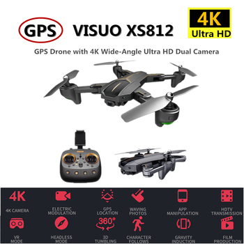 цена на VISUO XS812 RC GPS Drone with 4K HD Camera 5G WIFI Altitude Hold RC Drone GPS Quadcopter RC Helicopter VS SG900-S SJRC Z5 Dron