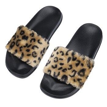Mnycxen flip flop zapatilla de leopardo Zapatillas de casa peludas de mujer zapatos planos de leopardo en la puerta calzado zapatillas de cama z80