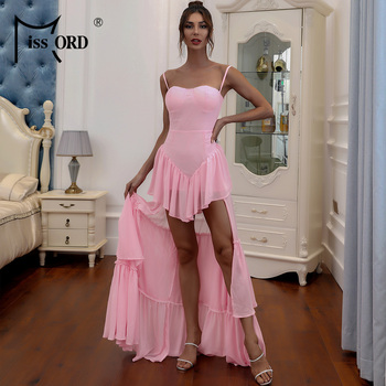 Missord 2020 Sexy Spaghetti Strap Ruffles Boho Beach Dress Women Casual Holiday Summer Sleeveless Party M0358