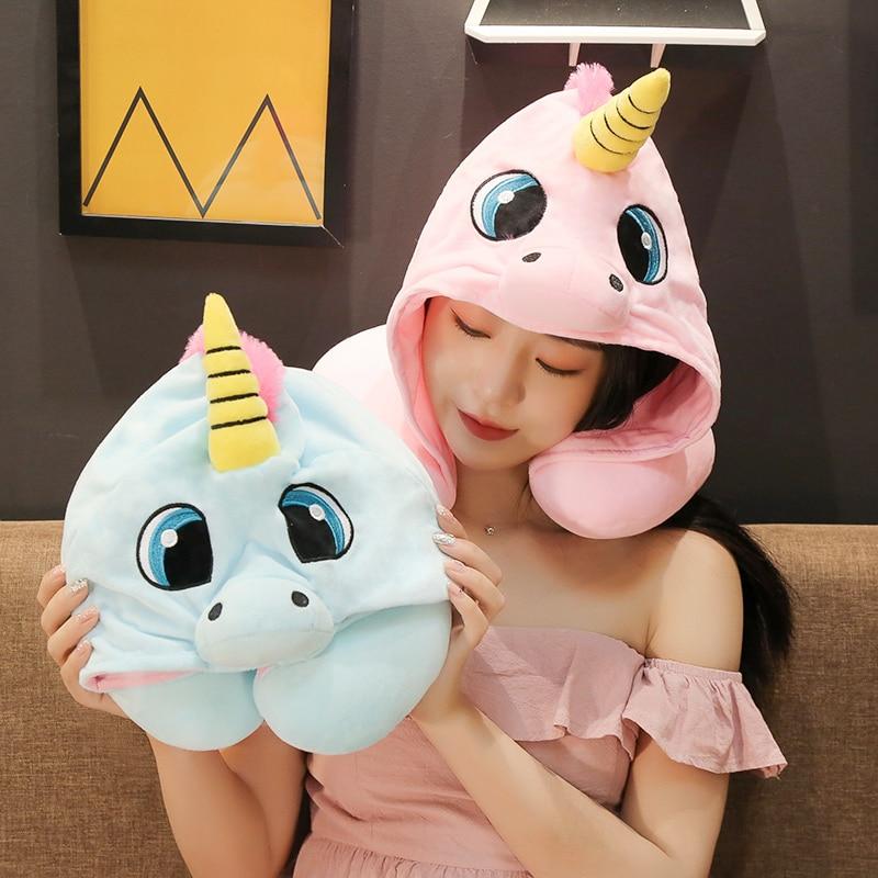 Peluche de unicornio Kawaii Rilakkuma de Totoro, gato, búho, capucha, almohada en forma de U, gorro, artículos para el hogar, juguete de peluche, regalos para niñas