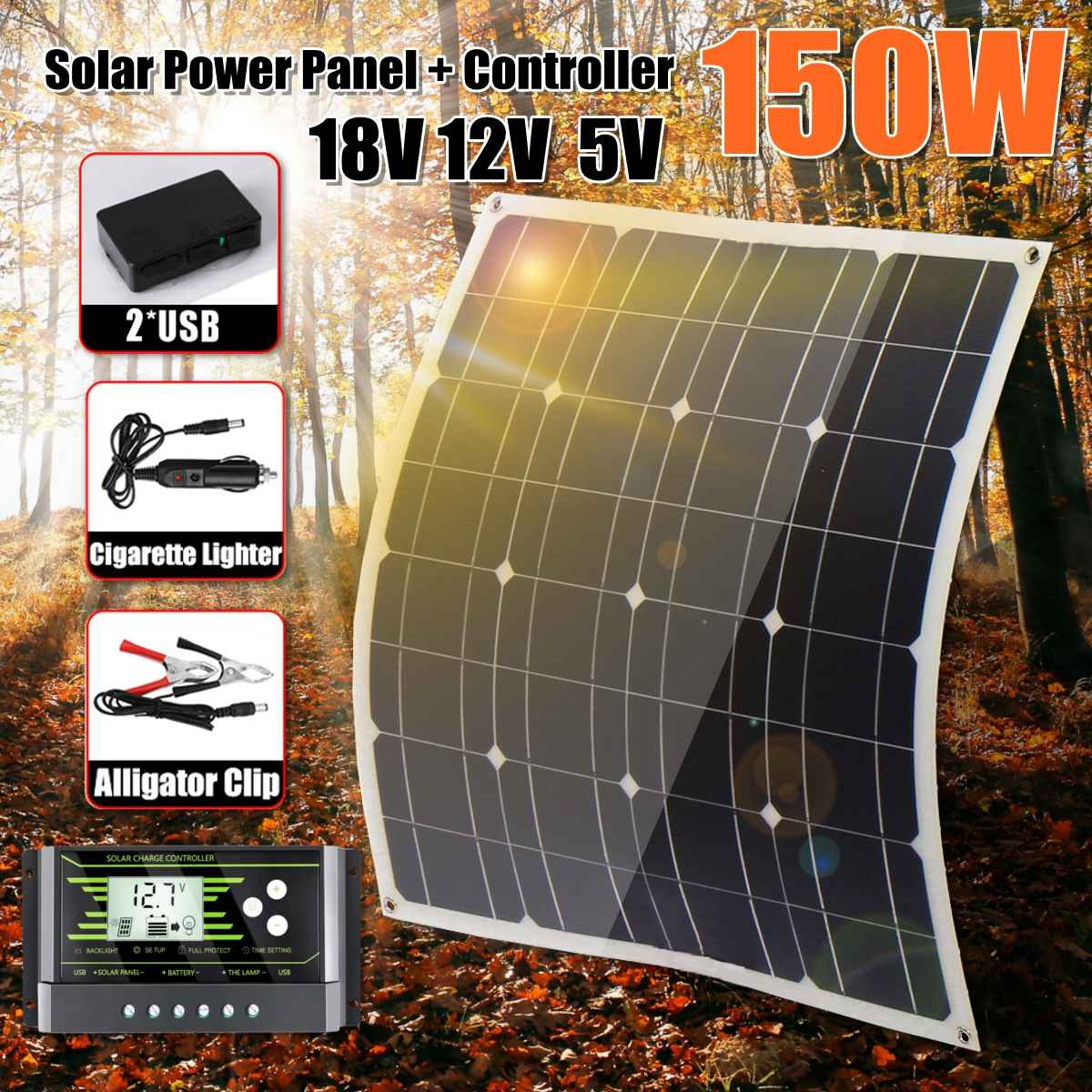 NEW <font><b>150W</b></font> 18V <font><b>Solar</b></font> <font><b>Panel</b></font> Dual USB Output <font><b>Solar</b></font> Cells Poly <font><b>Solar</b></font> <font><b>Panel</b></font> 10/20/30A Controller for Car Yacht Battery Boat Charger image