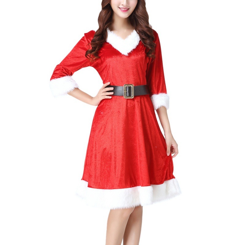 2019 <font><b>Christmas</b></font> <font><b>Dress</b></font> HoodedWomen Sashes <font><b>Red</b></font> Costume Girls <font><b>Sexy</b></font> COS Performance Clothing <font><b>Christmas</b></font> Adult <font><b>Dress</b></font> vestidos image
