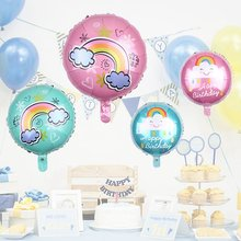 18 Inch Happy Birthday Foil Balloons Rainbow Circle Party Decoration Balloon Holiday Aluminum Inflatable Foil Ball Kids Toy(China)