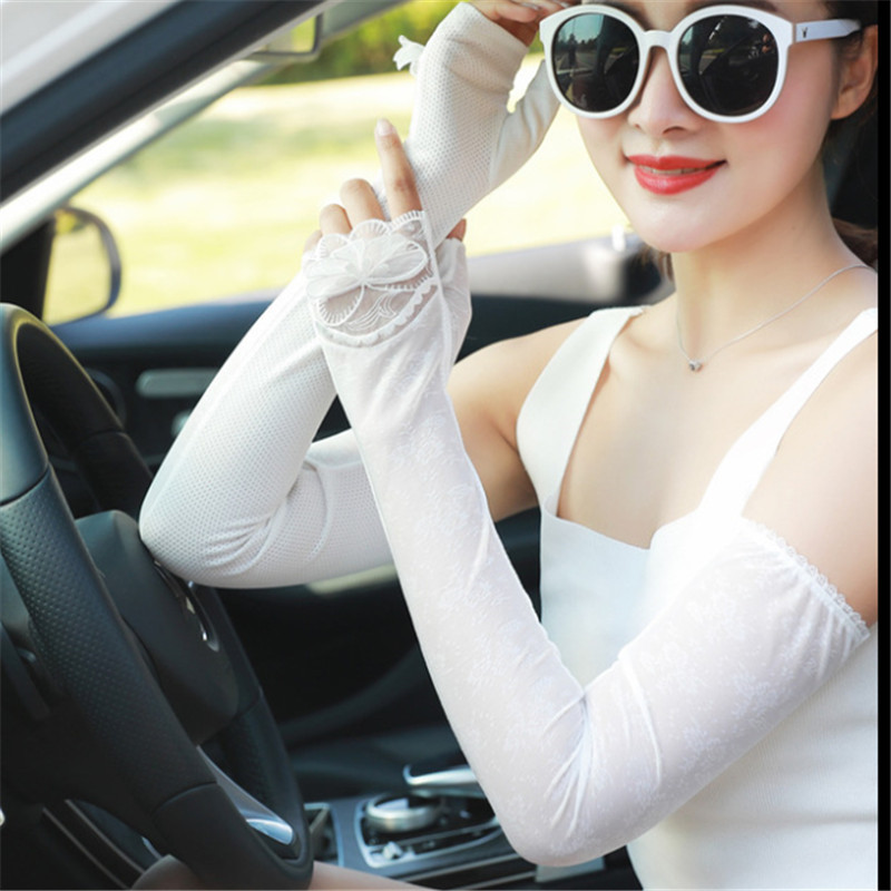 Elegant Women Arm Warmers Thin Breathable Sunscreen Solid Lace Up Solid Women Sleeve Simple All-Match Leisure Outdoor Arm Warmer