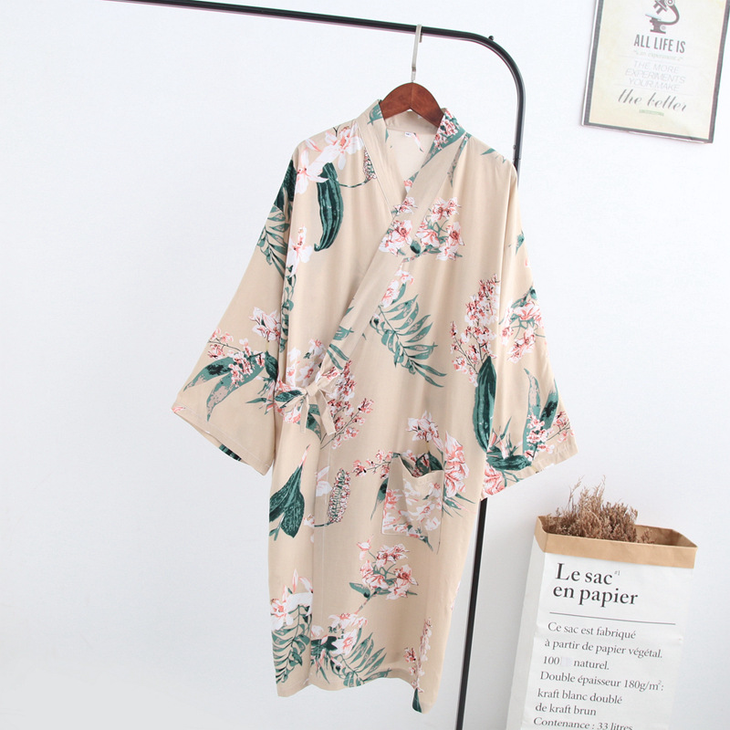 Spring And Summer Japanese Rayon Women'S Home Gown Pure Cotton Thin Kimono Long Size Cotton Robe Sleepwear Bathrobe пижама