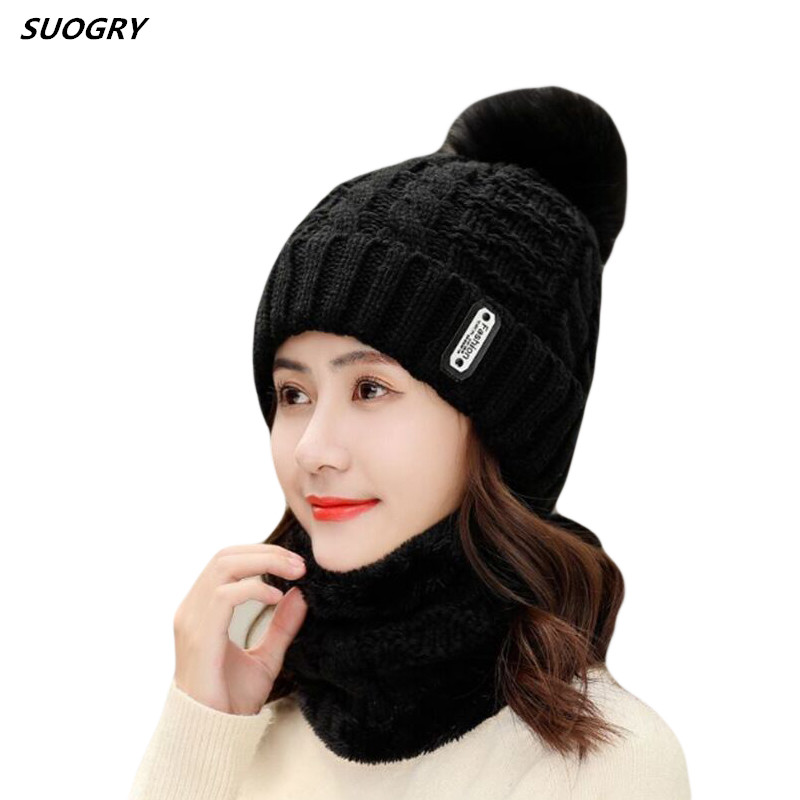 Fashion Winter Leather Label Scarf Set Knitted Hat Pompom   Skullies     Beanies   Hat For Women Brand New Thick Neck Hot Female Cap