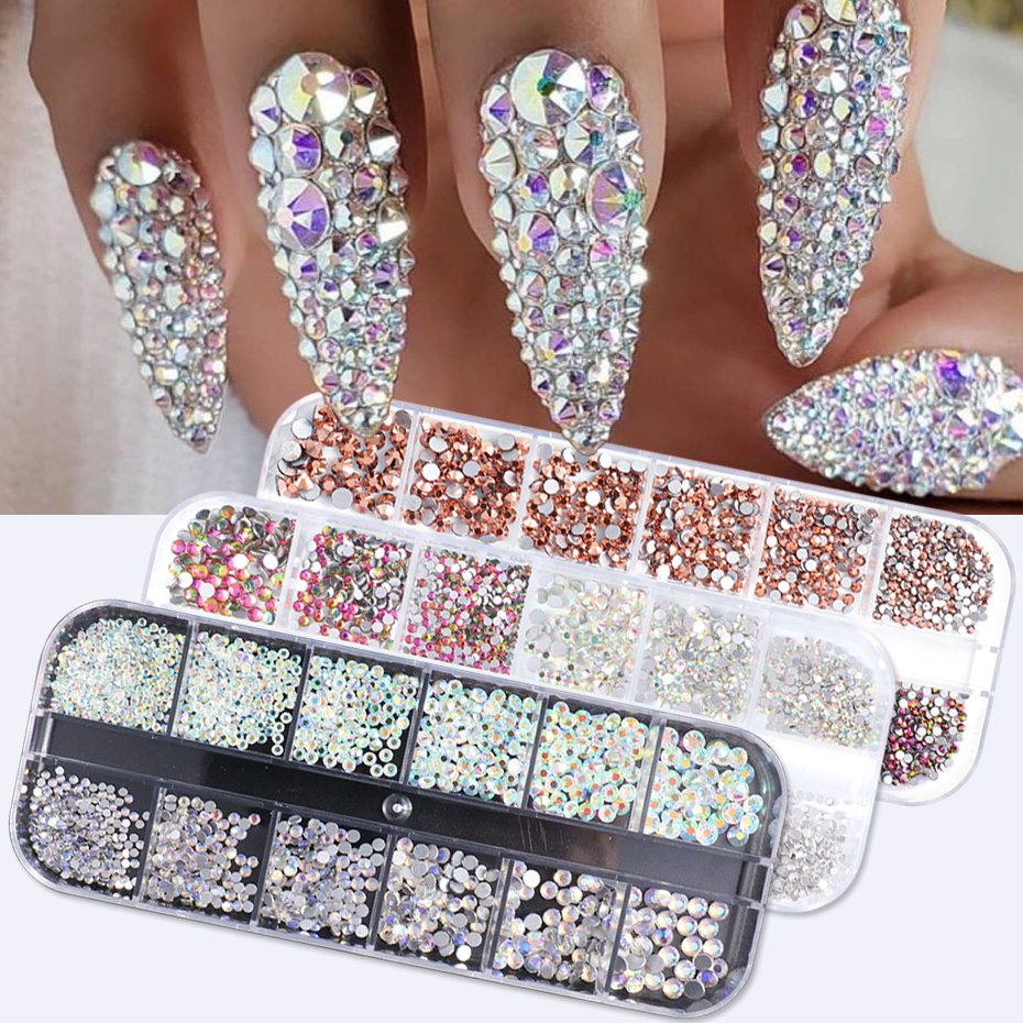 1440pcs Colorful Crystal Stones Nail Rhinestone Diamond 3D Flatback Glitter Strass Gems Nail Art Decorations Accessories 1