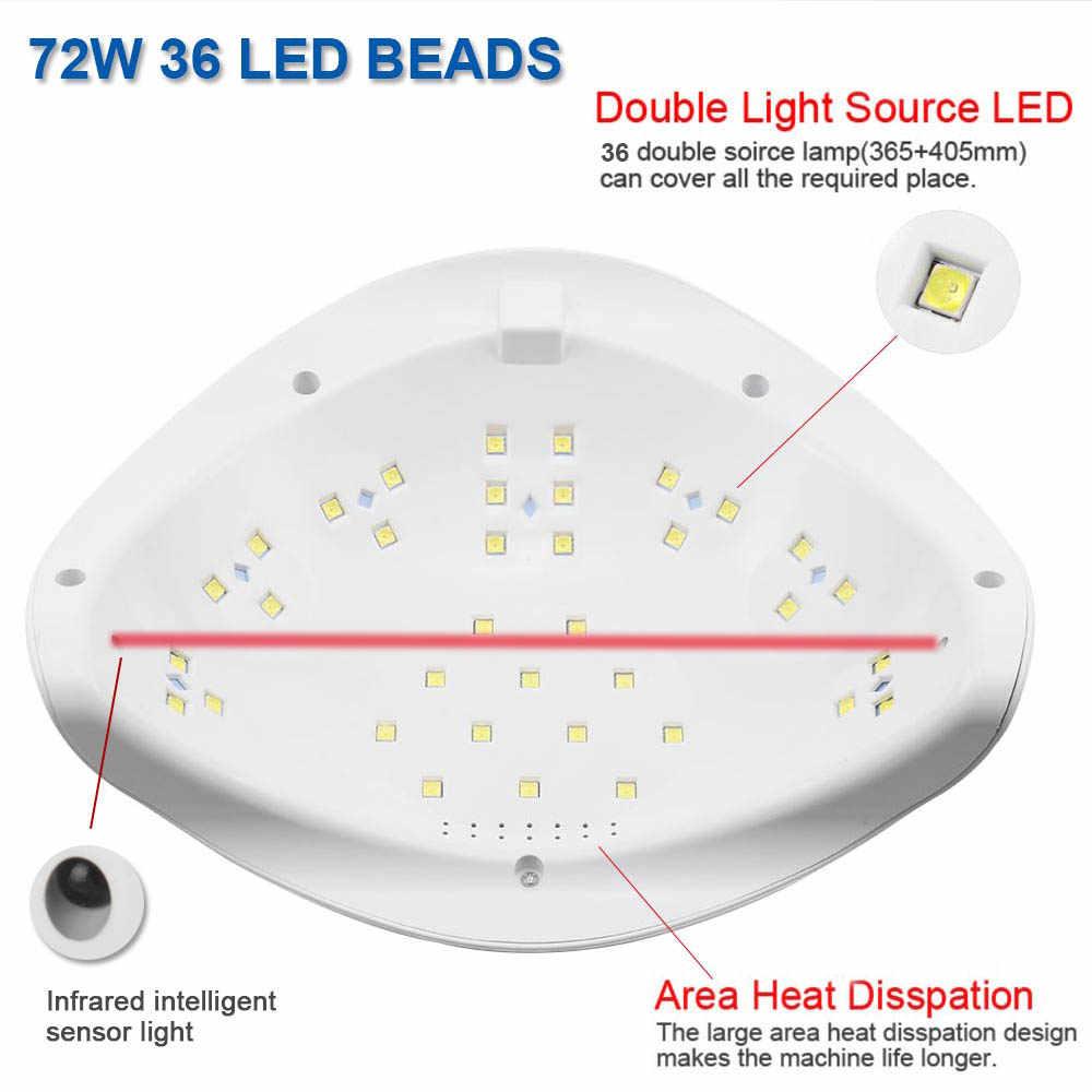 72W UV lampe à LED sèche-ongles lampe à UV LED Gel vernis lampe de polymérisation avec fond 30 s/60 s minuterie LCD lampe d'affichage pour sèche-ongles