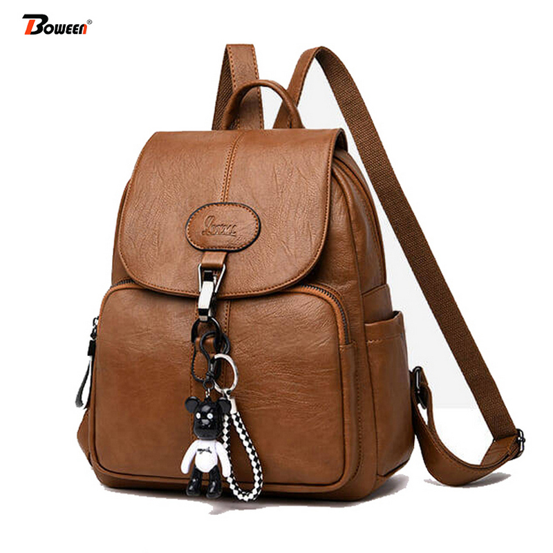 Black Soft Backpack Female Pu Leather Vintage Ladies Backpack Women High Quality 2019 New Youth Bagpack For Teenage Girl Brown