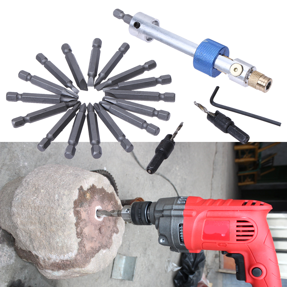 20Pcs Half Time Drill Driver Multi Screwdriver Sets Updated Version 16 Different Kinds Head with Countersink Bits Allen Wrench image