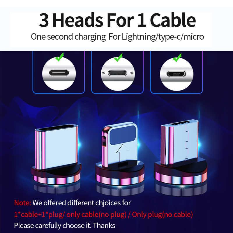 1M Magnetic Mobil Biaya Kabel untuk iPhone & USB Tipe C Kabel & Kabel Micro USB untuk Samsung Xiaomi huawei Magnet Kabel Charger