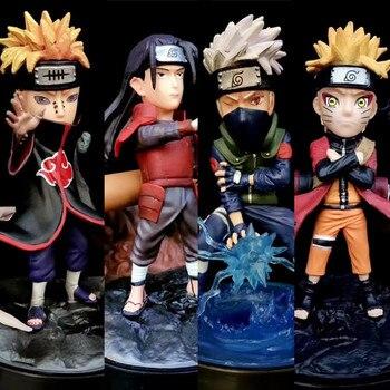 Anime Naruto Akatsuki Senju Hashirama Pain Hatake Kakashi Uzumaki Naruto Q version PVC Action Figures Collectible Model Toys elbcos kizuna ai 10cm 3 9 change face q version pvc model toys action figures