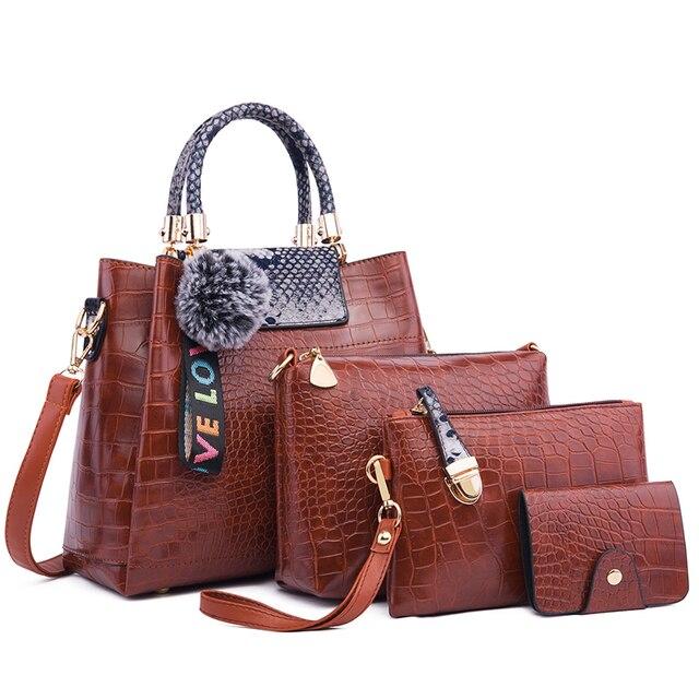 Ceossman 4 pçs/set bolsa feminina sacos de mão das senhoras bolsas de luxo bolsas femininas sacos de grife para a mulher 2020 bolsa saco composto do plutônio 4