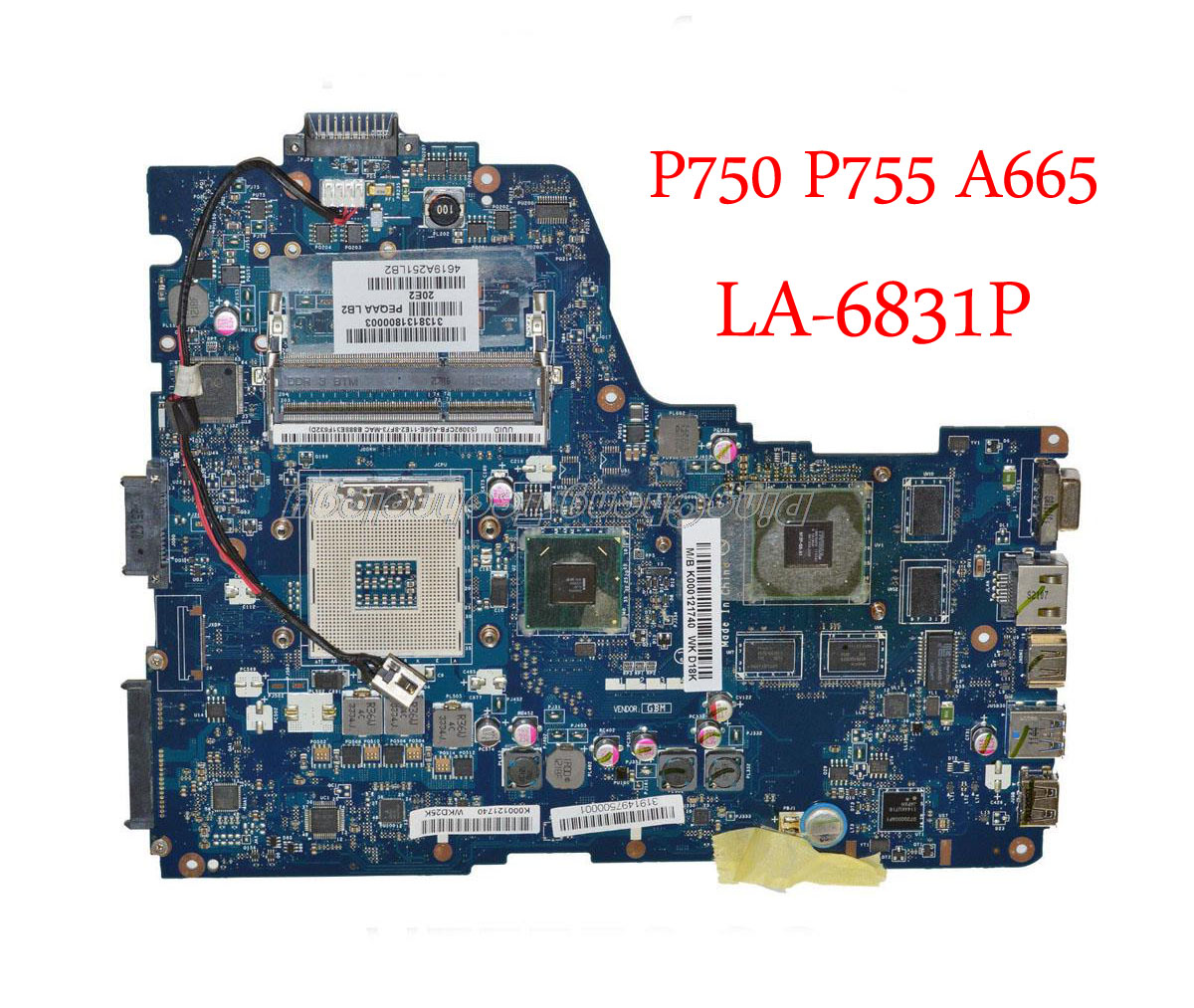 Laptop Motherboard For <font><b>Toshiba</b></font> <font><b>Satellite</b></font> <font><b>P750</b></font> P755 A665 PHQAA LA-6831P K000125710 HM65 DDR3 GT540/1GB GPU image