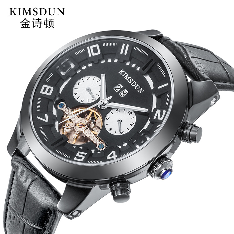 Man Watch Mechanical Watch  Men Fashion Automatic Watch Men Moon Phase Square Leather Watches Tourbillon Wristwatch Clock