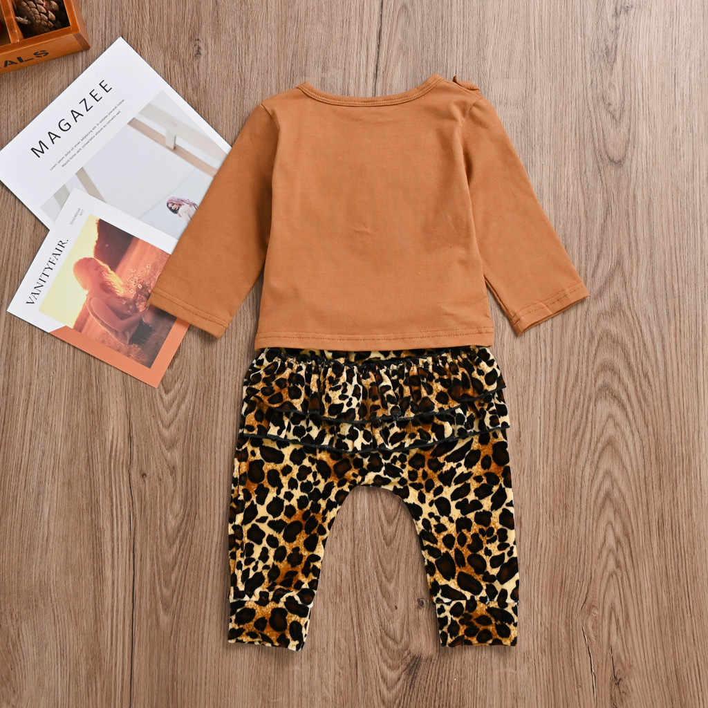 2019 nuevo conjunto de ropa para niños pequeños, ropa de moda para niñas, blusas con volantes sólidos, pantalones de leopardo, conjunto de ropa de ocio, Ropa para Niñas