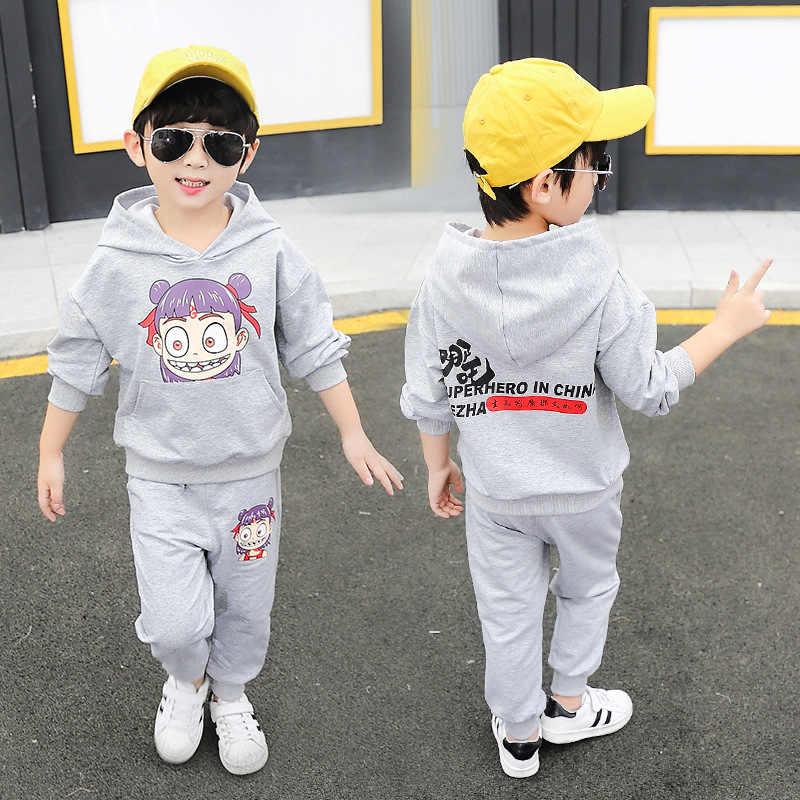 2019 Autumn Clothing Korean-style Childrenswear BOY'S Sportswear Children Hooded Nezha Hoodie Two-Piece Set