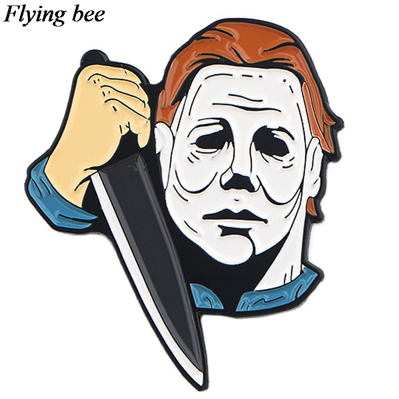 Flyingbee Michael Myers Horror Brooch Cartoon Enamel Pins For Women Men Backpack Pins Personality Lapel Pin Charm Jewelry X0581