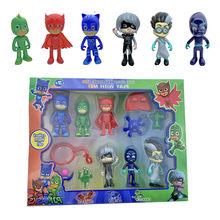 6 pçs/set Pj Pj Máscara Máscara de Personagem de Desenho Animado PVC Catboy OwlGilrs Gekko Máscara de Caráter Crianças Toy Presente de Natal Aniversário