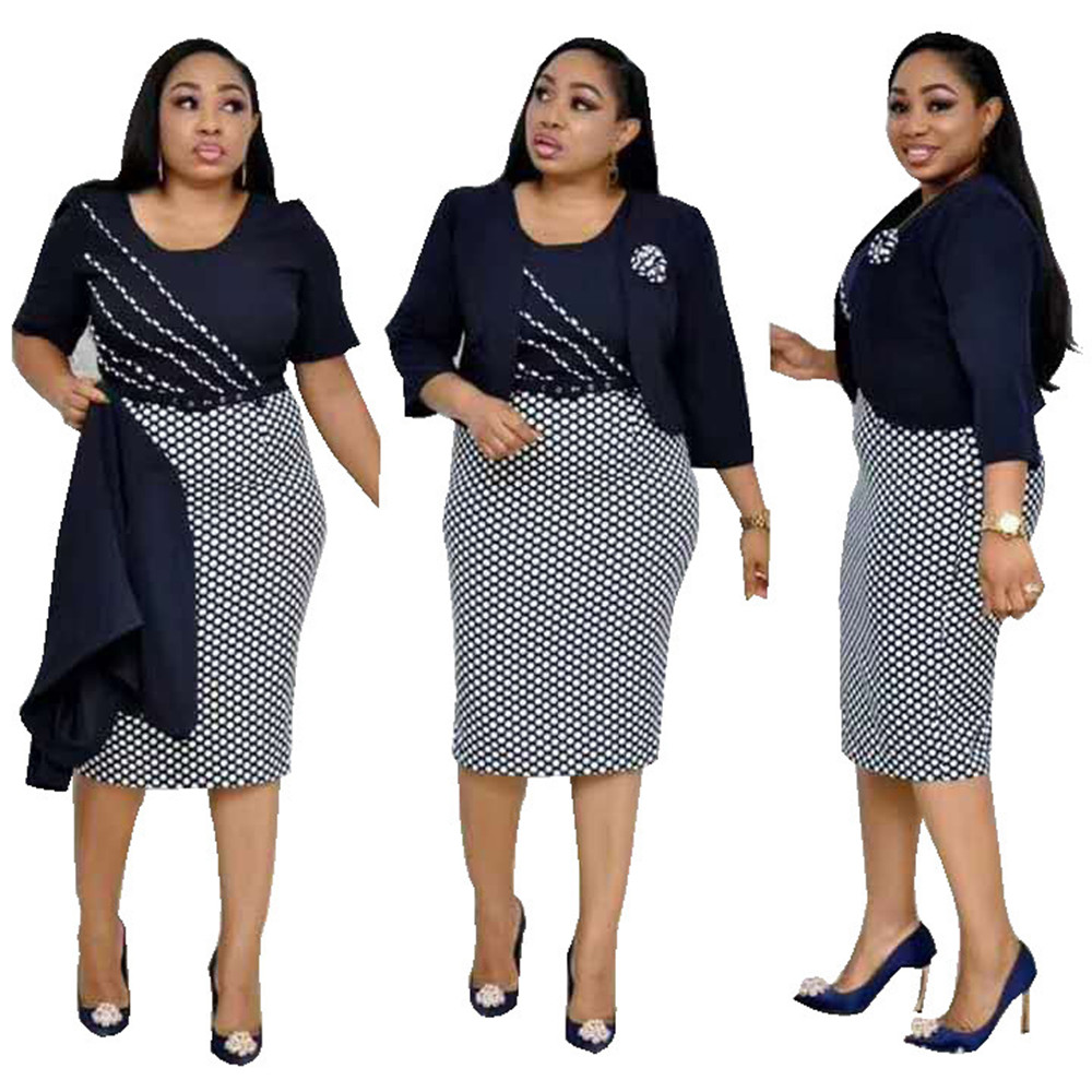 Women Plus Size Office Work  2 Piece Outfits Female Summer Midi Pencil Dress Elegant Suit Tops  Two Piece Set Outfits Clothes