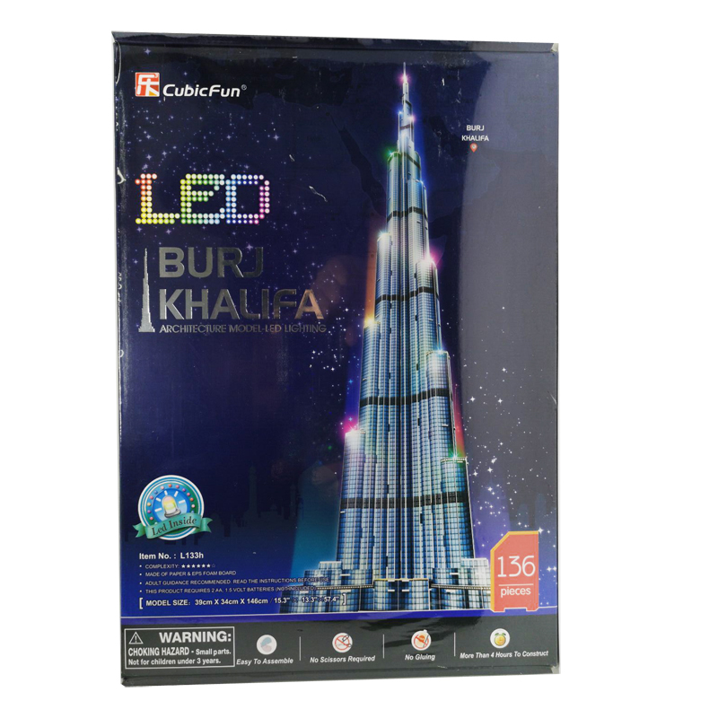 T0416 3D Puzzles 1.5m Dubai Burj Khalifa Tower DIY Building Paper Model Kids Creative Gift Children Educational Toys Hot Sale
