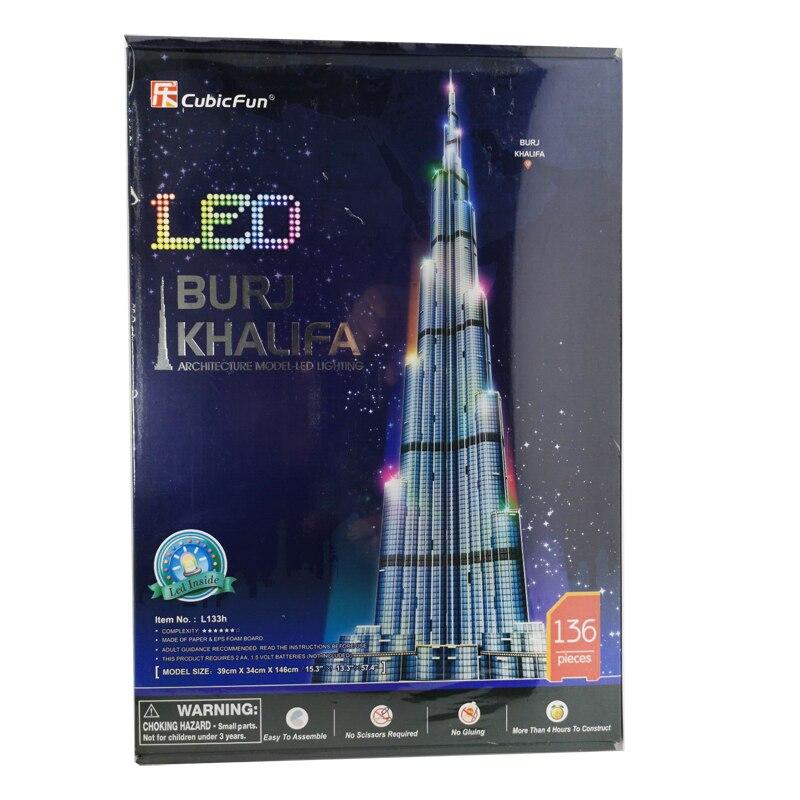T0416 3D Puzzles 1.5m Dubai Burj Khalifa Tower DIY Building Paper Model Kids Creative Gift Children Educational Toys Hot Sale