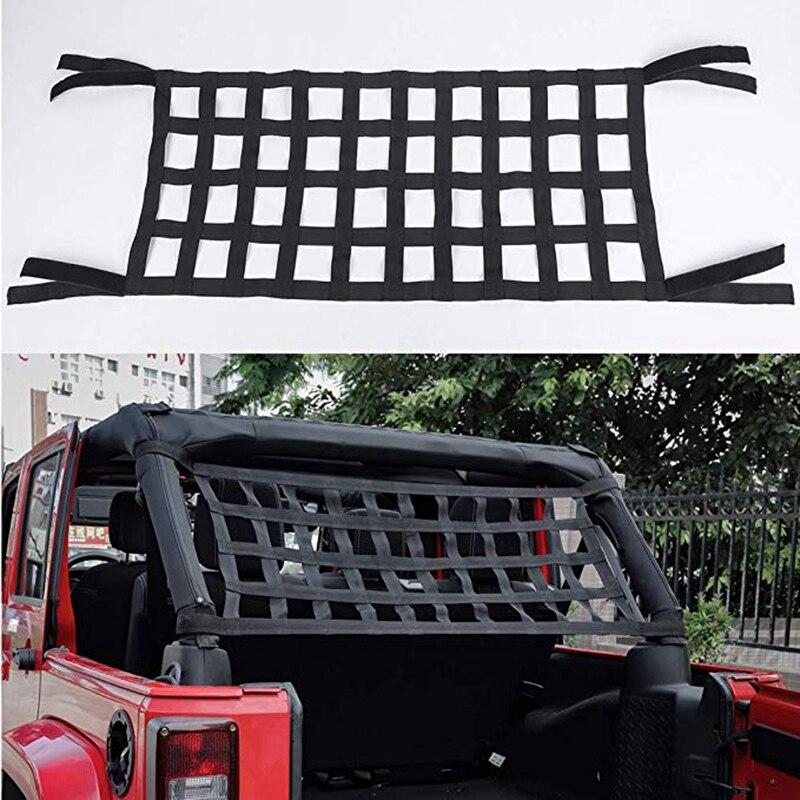 Pano oxford preto multifuncional magia adesivo telhado rede de armazenamento rede proteção telhado malha 4x10 adequado para jeep wrangler