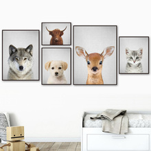 Deer Wolf Bison Cat Dog Wall Art Canvas Painting Nordic Posters And Prints Nursery Pictures For Baby Kids Room Decor