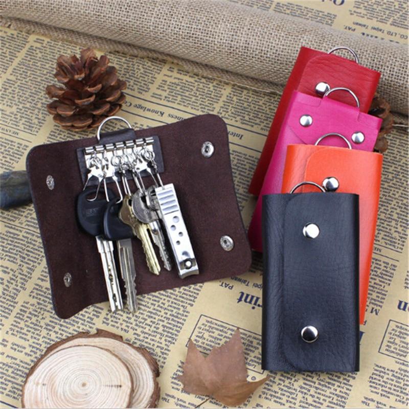 PU Leather Keychain Men Women Key Holder Organizer Pouch Car Key Bag Wallet Housekeeper Key Case Mini Card Bag
