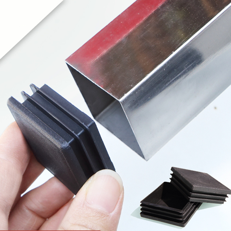 10pcs Plastic Furniture Leg Hole Plug Black Blanking End Cover Steel Square Tube Hole Cover  Anti-slip Mat Furniture Accessories