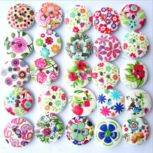 100pcs DIY 2 Holes Wooden Buttons Colorful Printed Flower Sewing Wooden Button Craft Decor Buttons For Kids Garment Accessories(China)