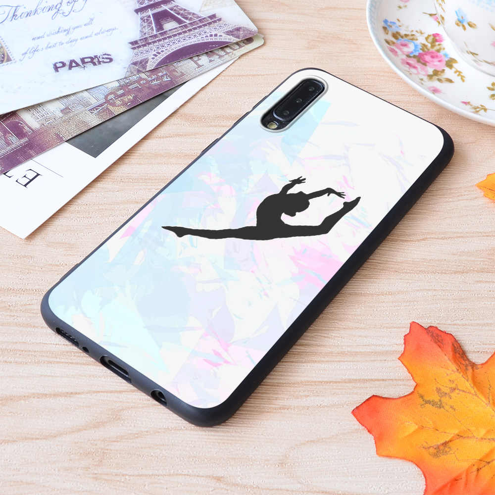Water Colour Gymnastics Silhouette Print Soft Silicone Matt Case For Samsung Galaxy S Note and Galaxy A