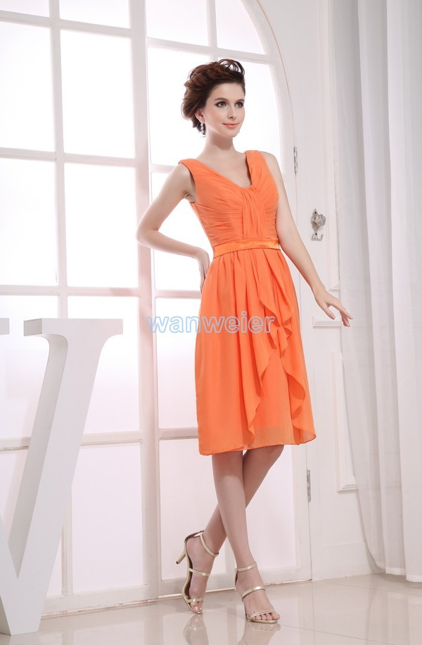 Free Shipping 2013 New Beyonce New Hot Brides Maid Dress Gown Custom Size/color Short Orange Strap Sexy Bridesmaid Dresses